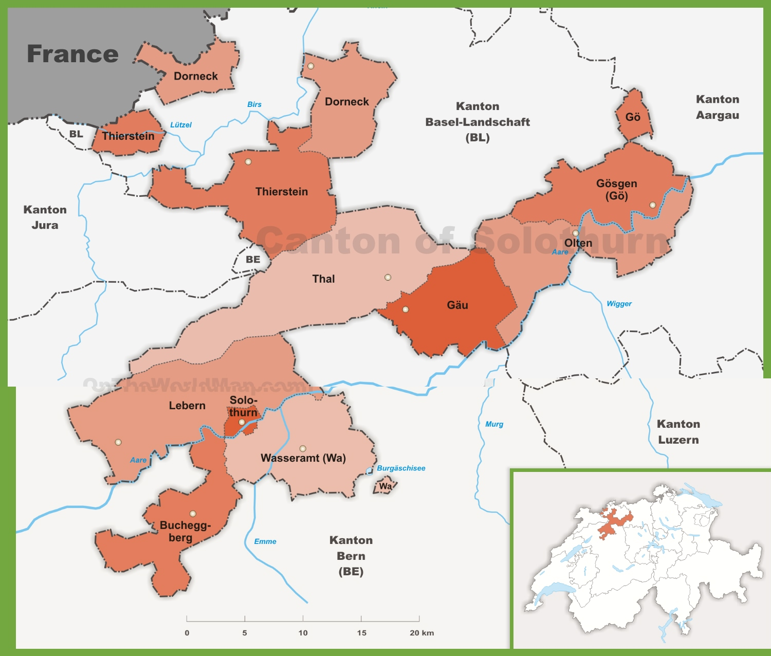 Canton of Solothurn Maps Switzerland Maps of Canton of Solothurn
