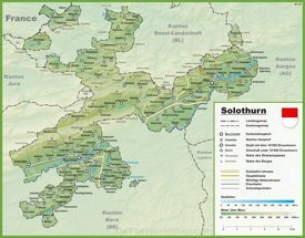 Canton of Solothurn map with cities and towns