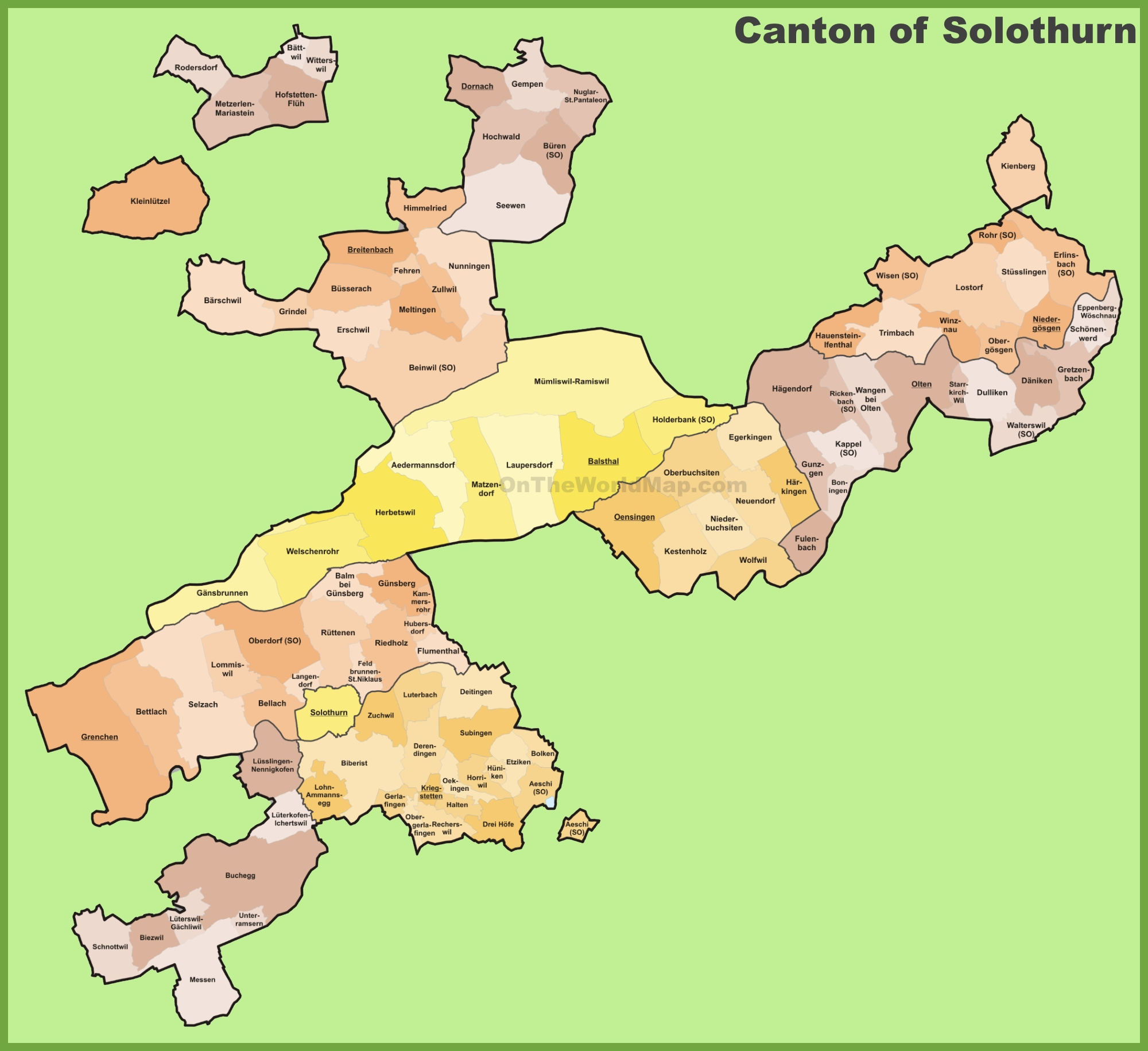 Canton of Solothurn municipality map