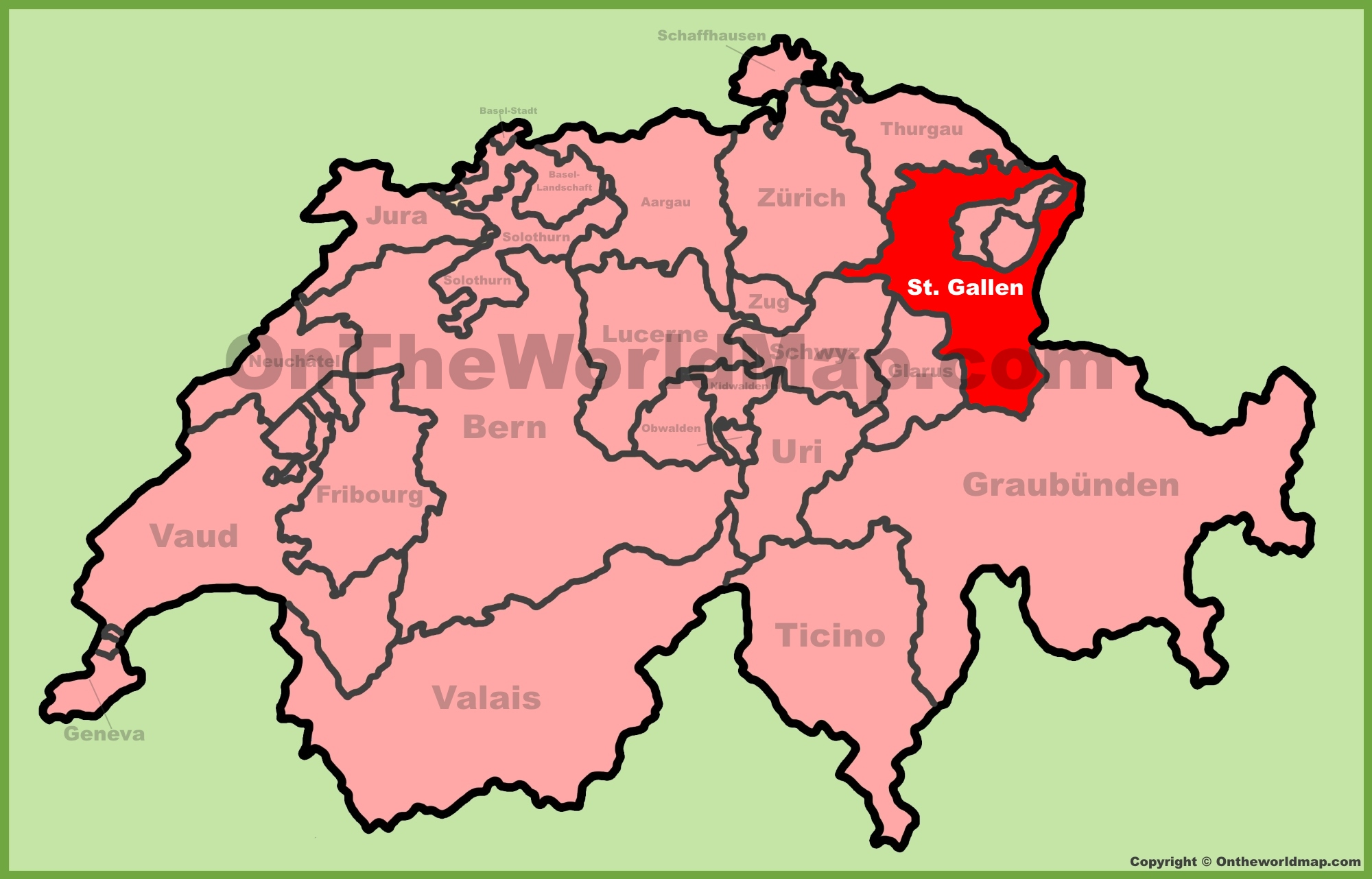 Saint Gallen Switzerland  city images : Canton of St. Gallen location on the Switzerland map