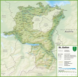 Canton of St. Gallen map with cities and towns