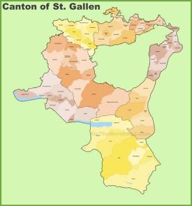 Canton of St. Gallen municipality map