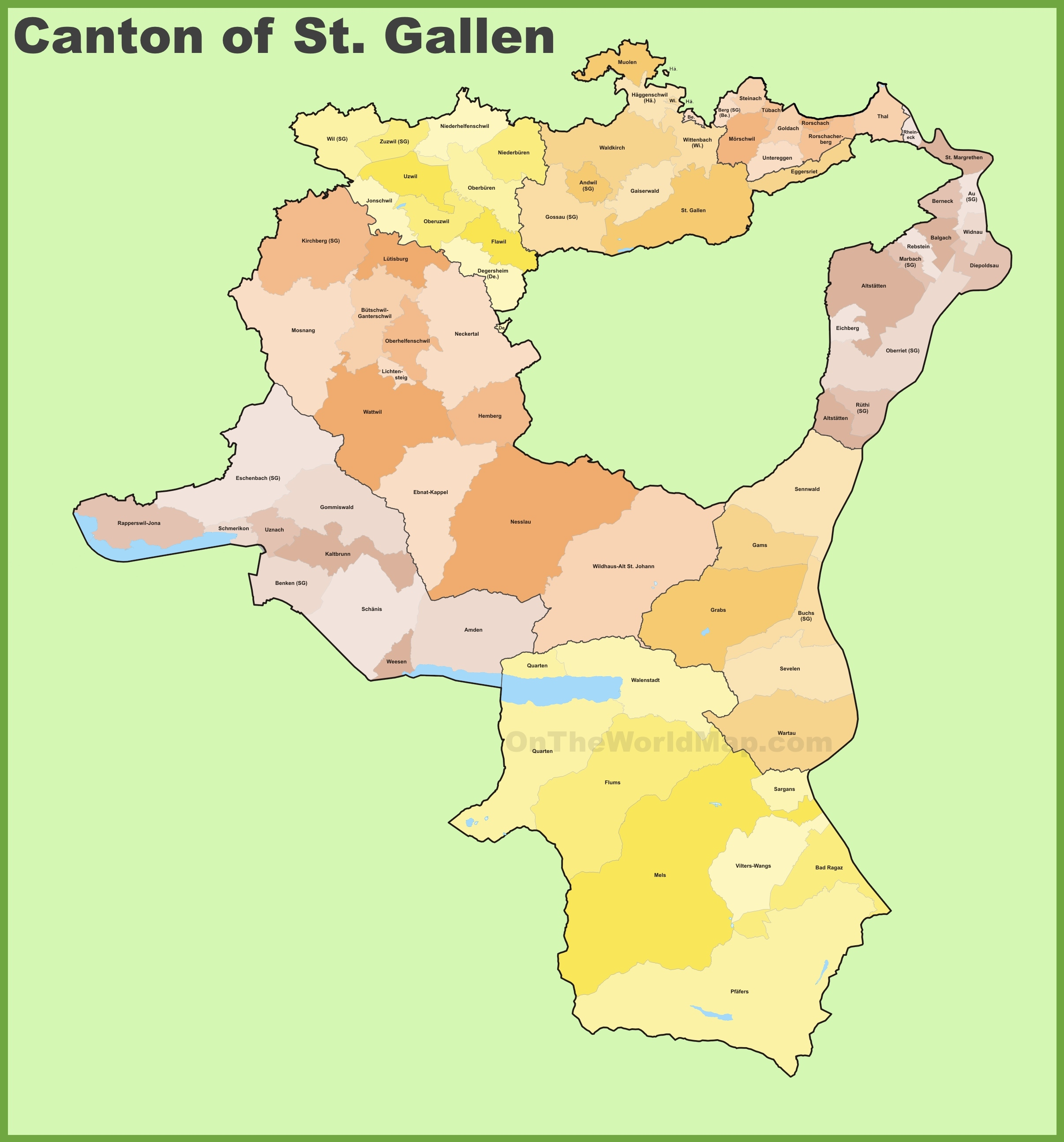 Canton of St Gallen municipality map