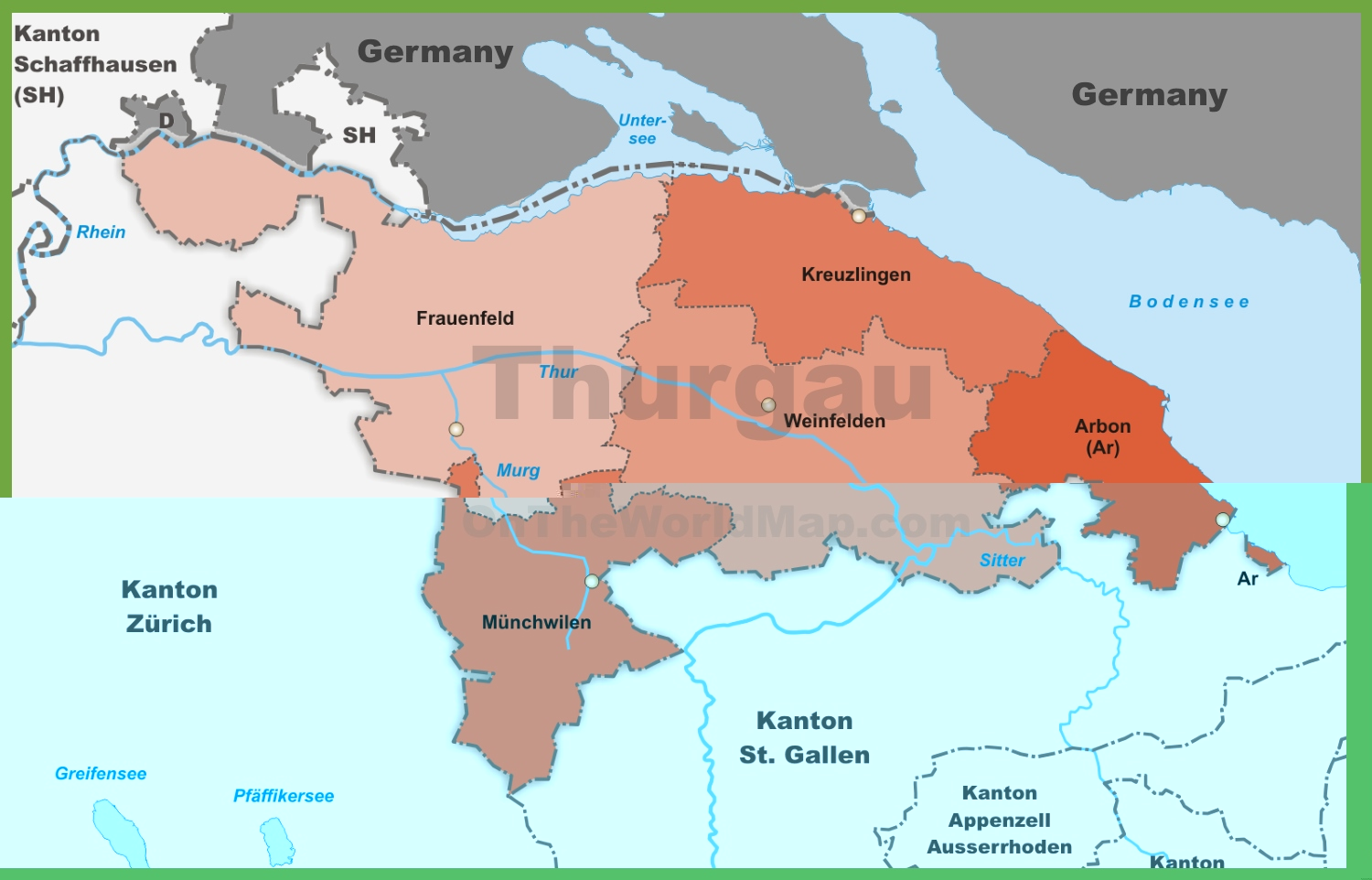 Canton of Thurgau district map