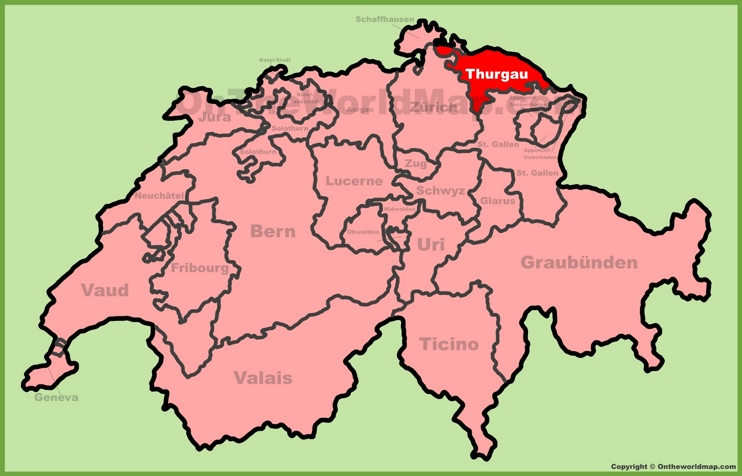 Canton of Thurgau location on the Switzerland map