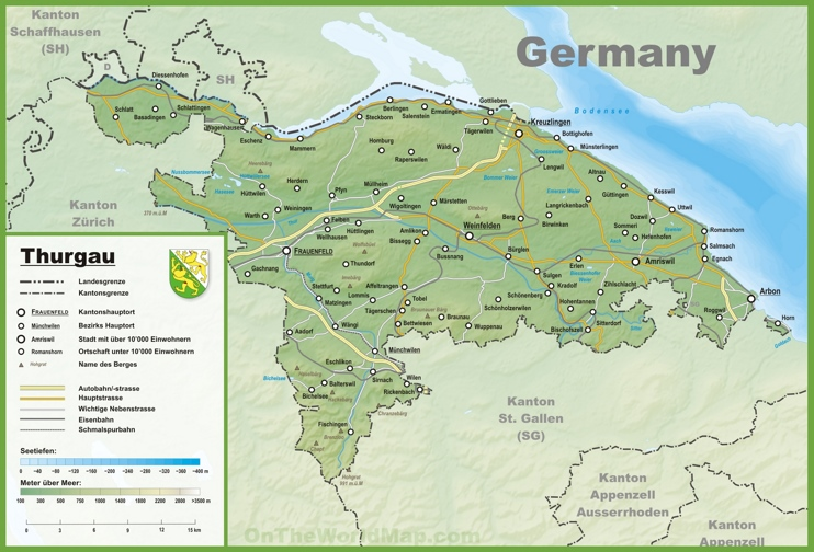 Canton of Thurgau map with cities and towns