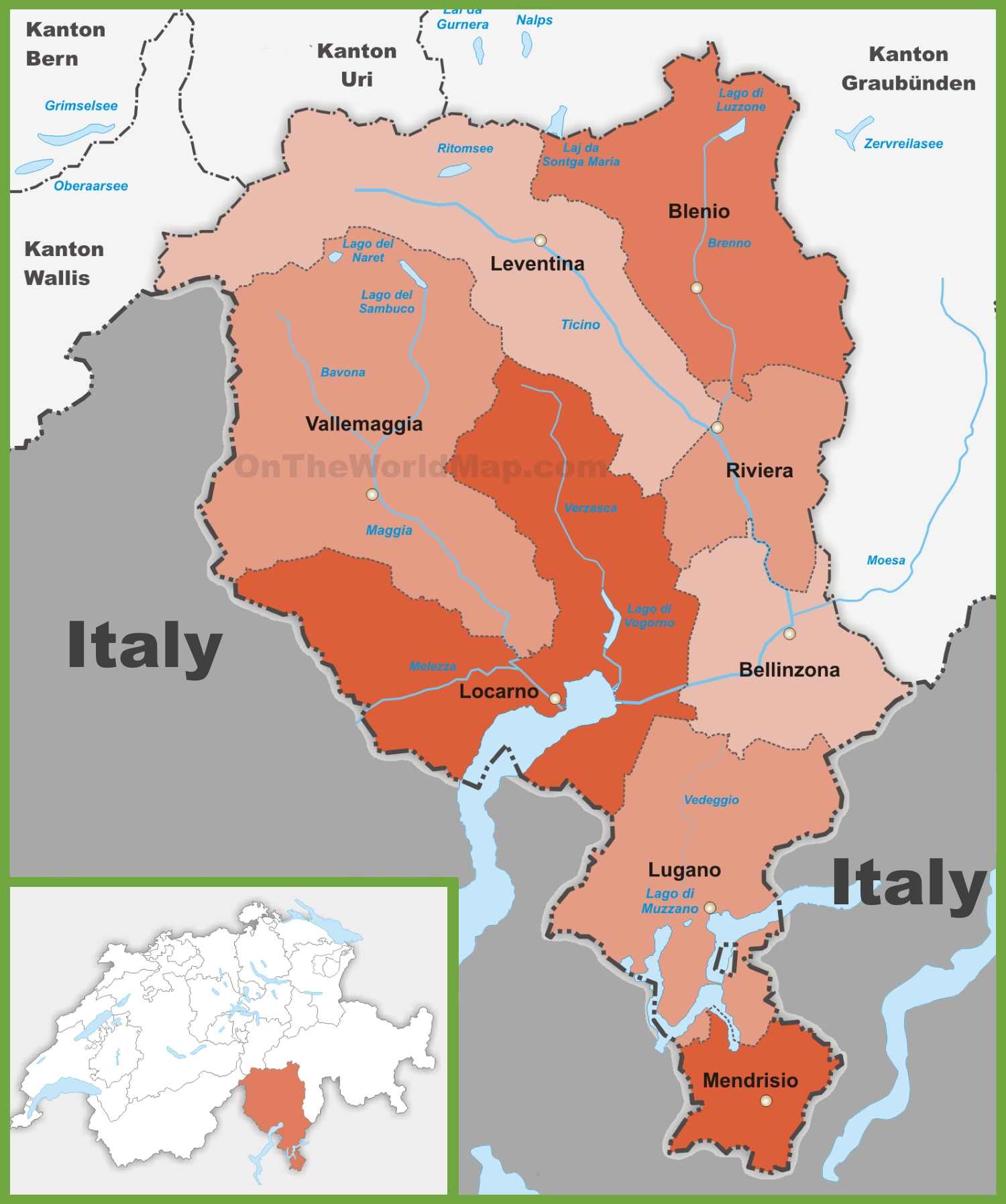 Canton of Ticino district map
