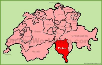 Canton of Ticino Location Map