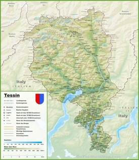 Canton of Ticino map with cities and towns