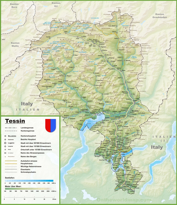 Cartina Canton Ticino Svizzera.Map Of Ticino With Cities And Towns