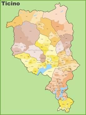 Canton of Ticino municipality map