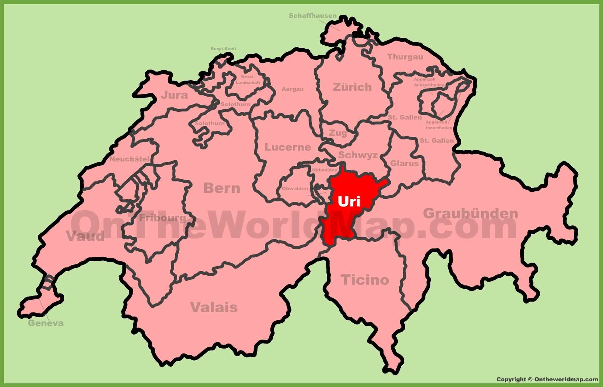 Canton of Uri location on the Switzerland map