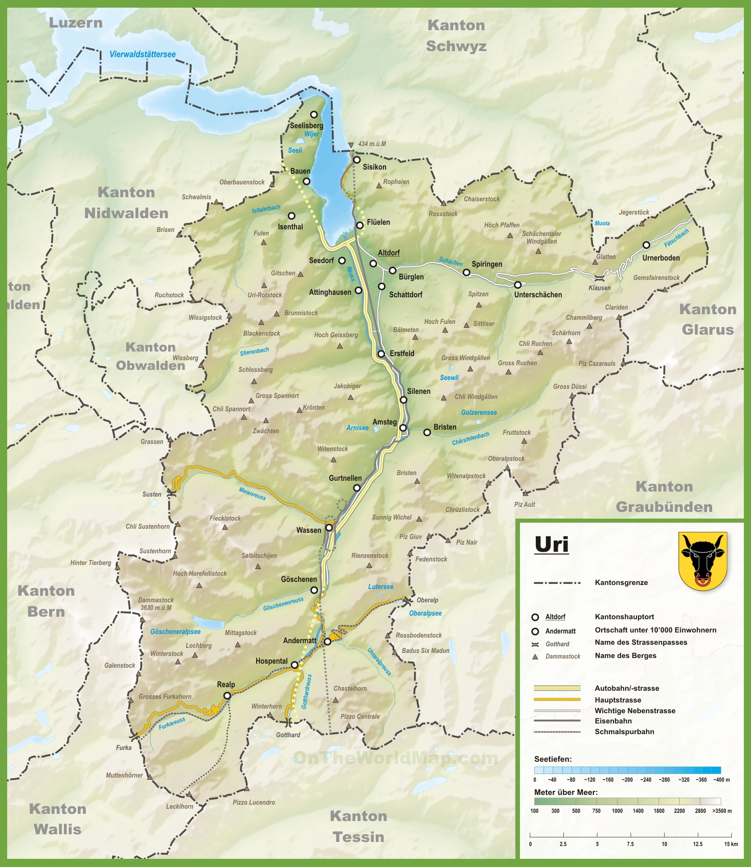 Map Of Uri Canton of Uri map with cities and towns