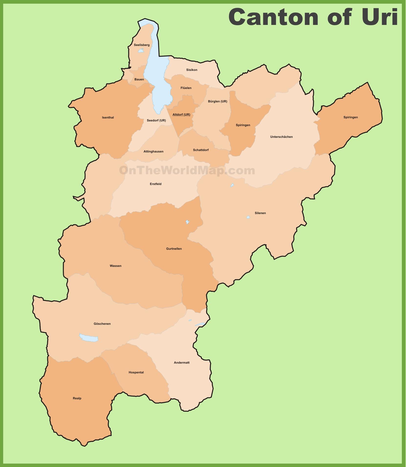 Canton of Uri municipality map