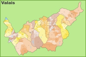 Canton of Valais municipality map