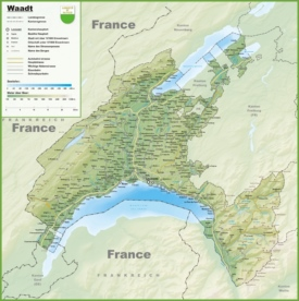 Canton of Vaud map with cities and towns