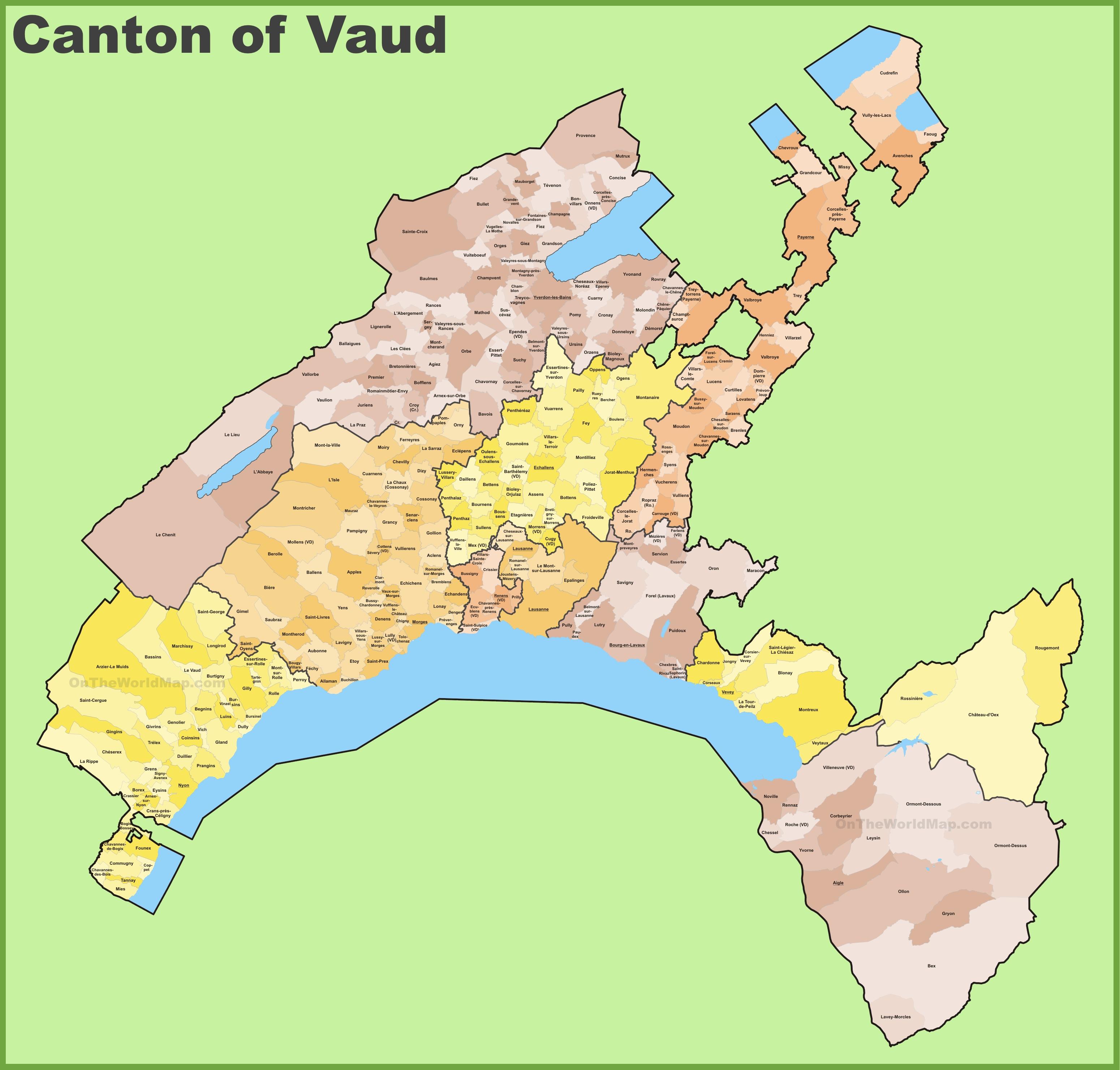 Canton of Vaud municipality map