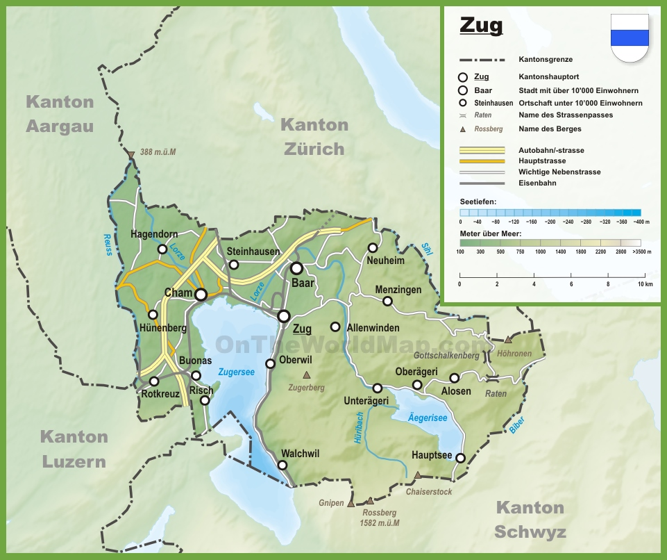 Canton of Zug map with cities and towns