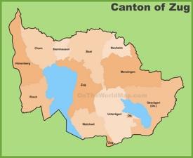 Canton of Zug Maps | Switzerland | Maps of Canton of Zug