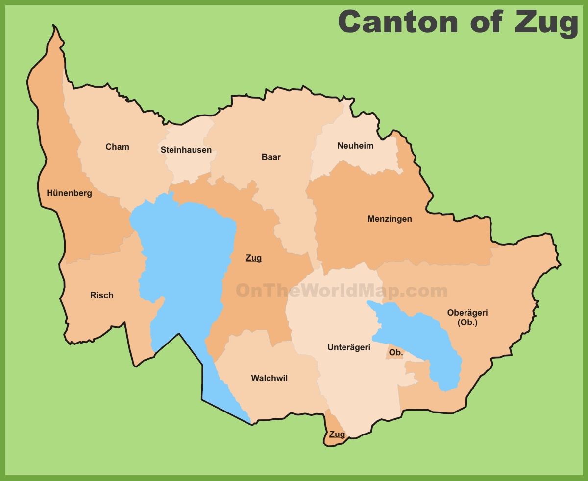 Canton of Zug municipality map
