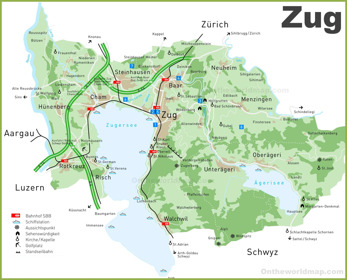 Tourist Map of Canton of Zug