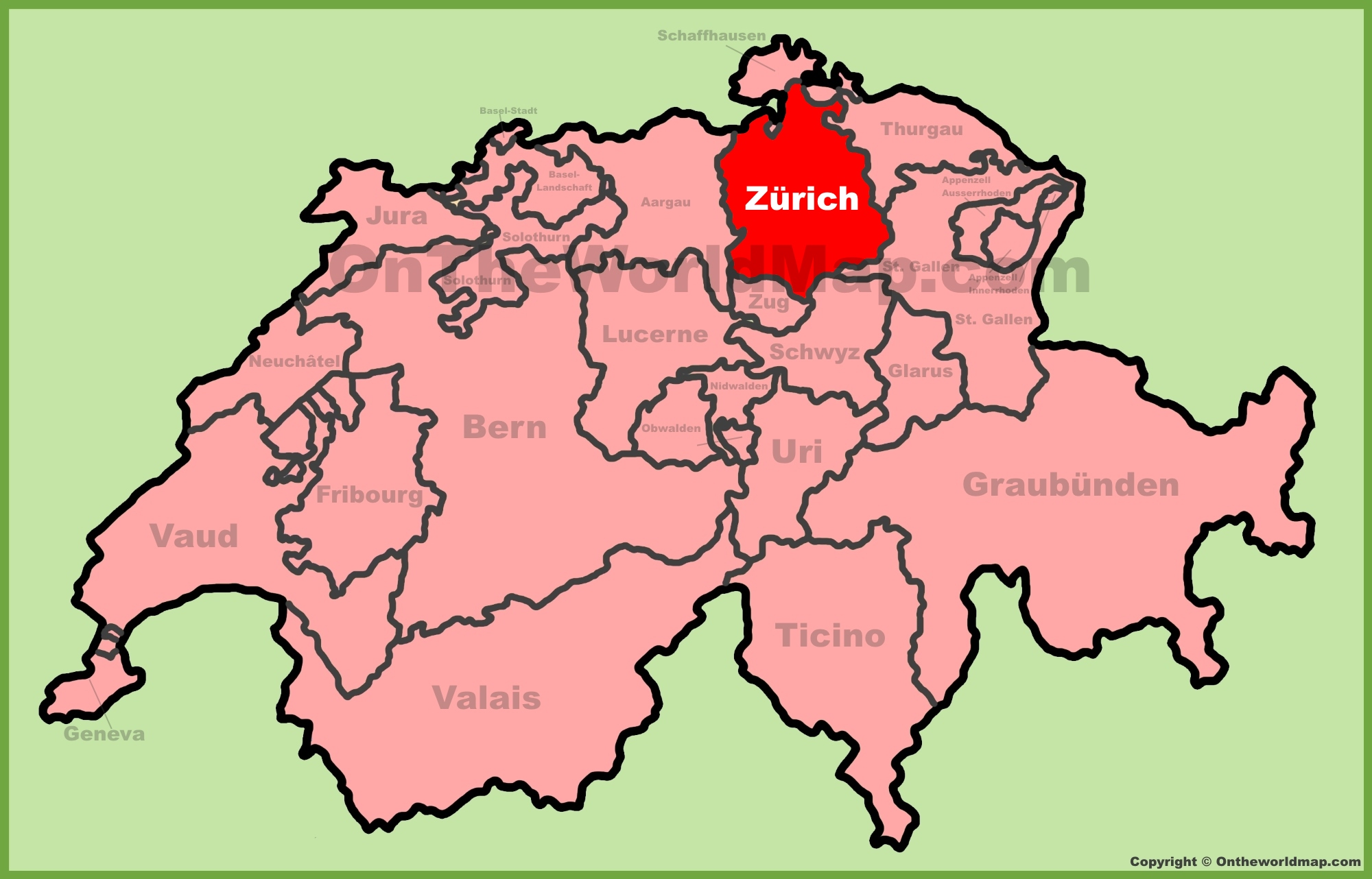 Canton of Zrich location on the Switzerland map