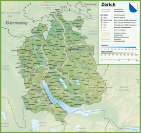 Canton of Zürich map with cities and towns