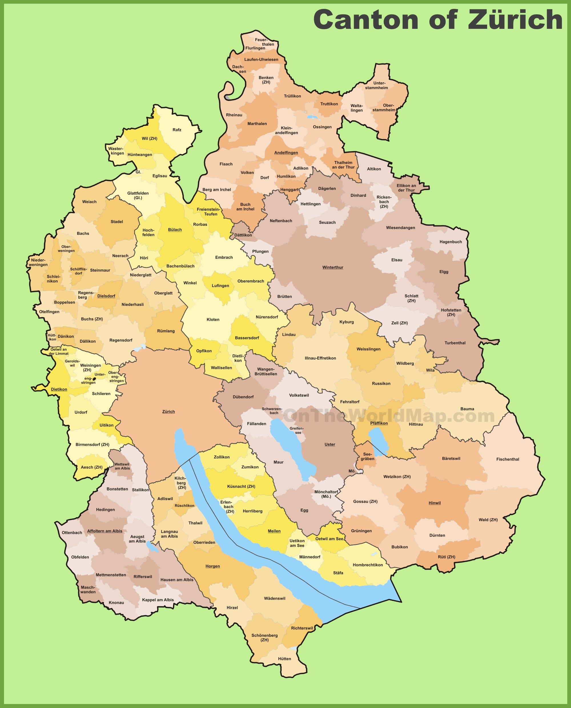 Canton of Zrich municipality map