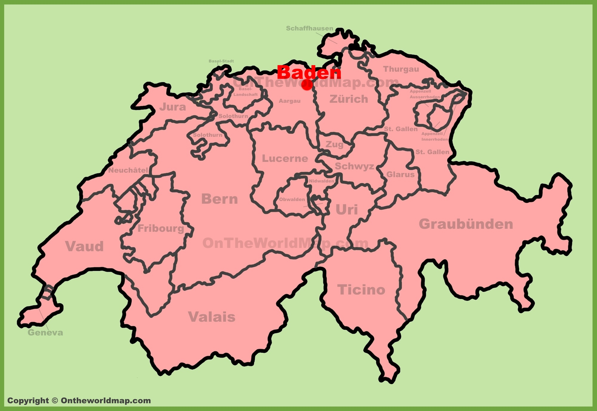 Baden location on the Switzerland map