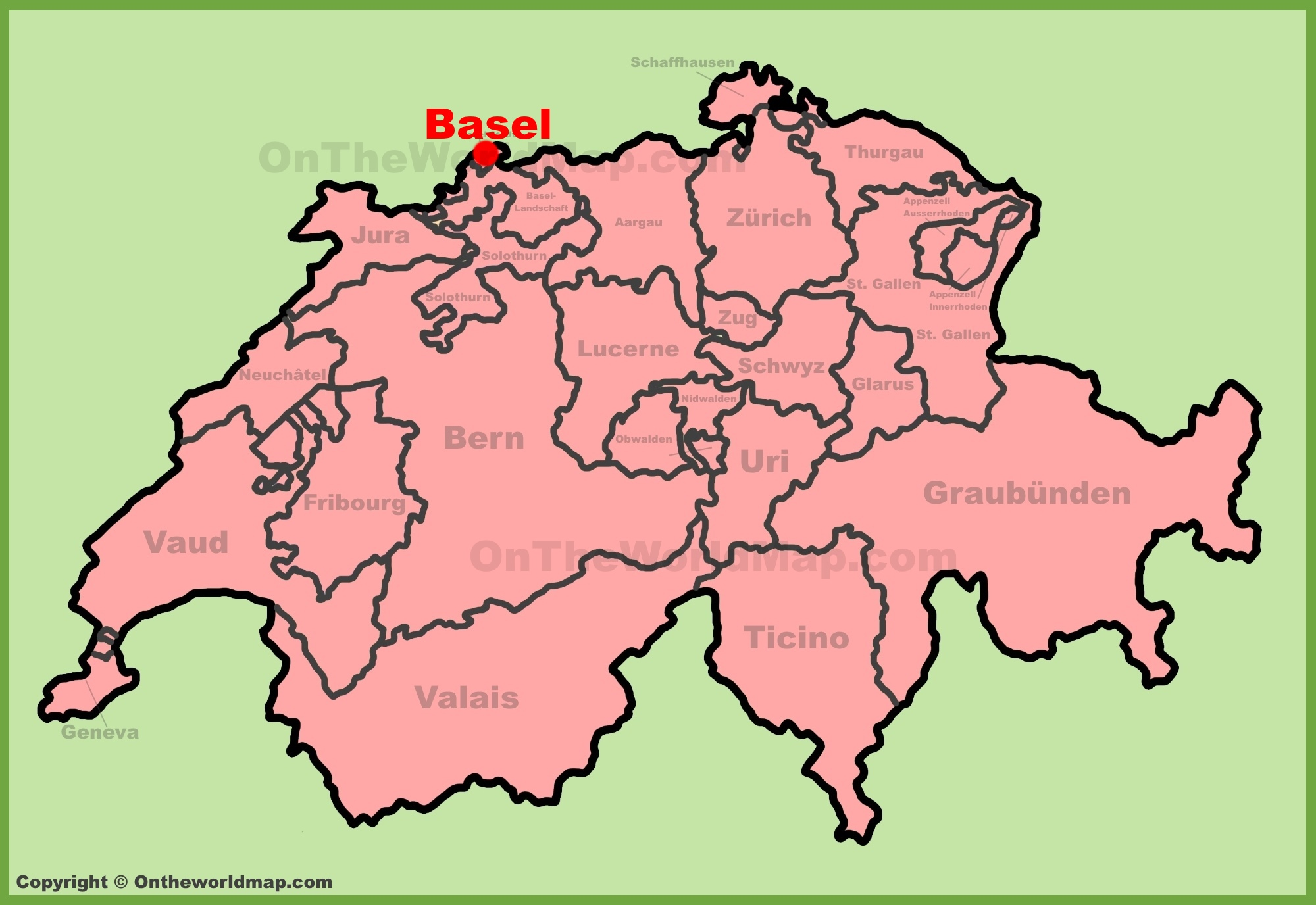 Basel location on the Switzerland map