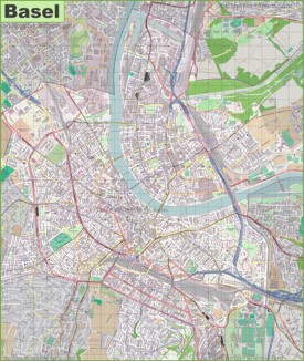 Large detailed map of Basel