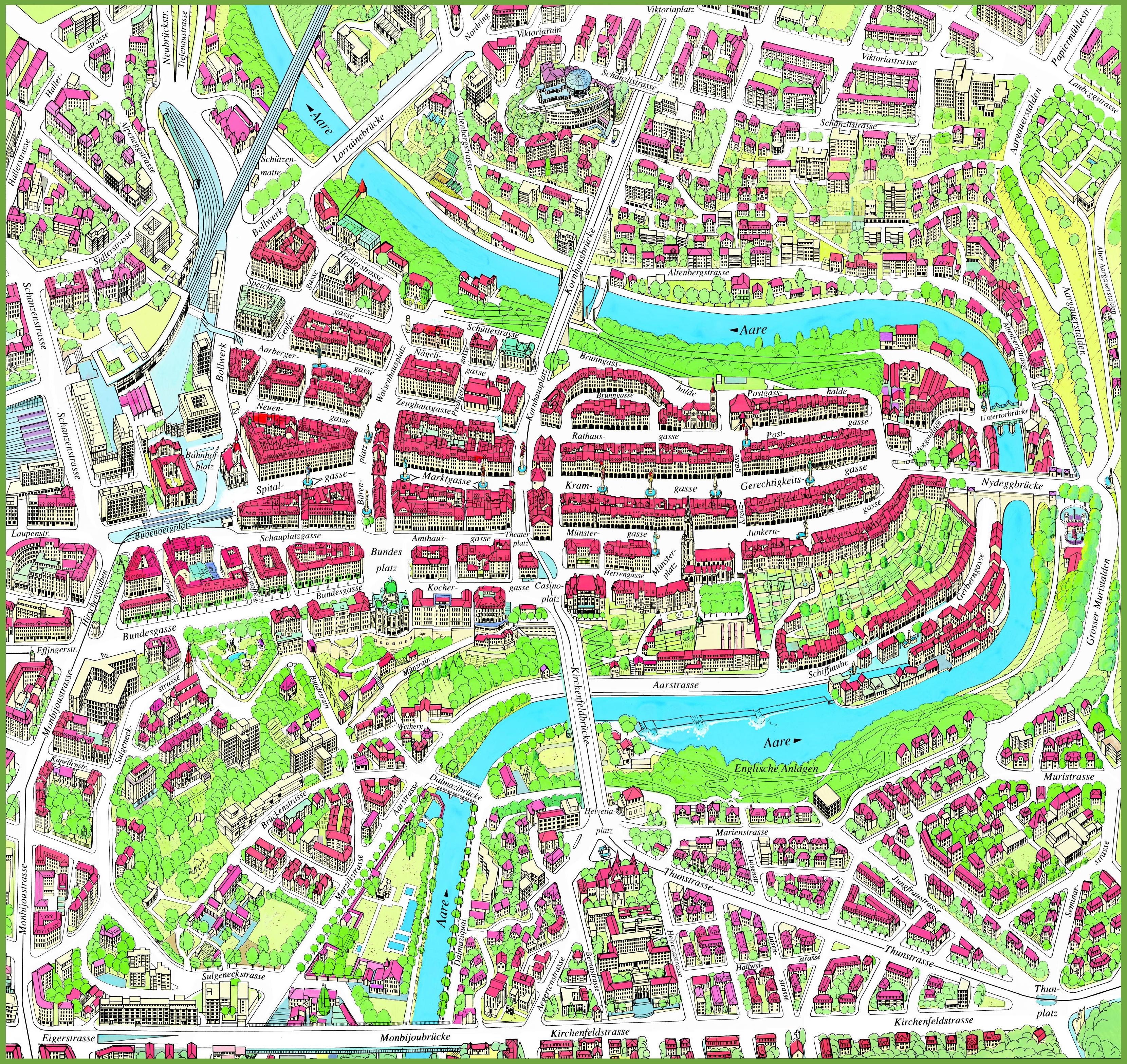 Bern Switzerland Map Bern city center map Bern Switzerland Map