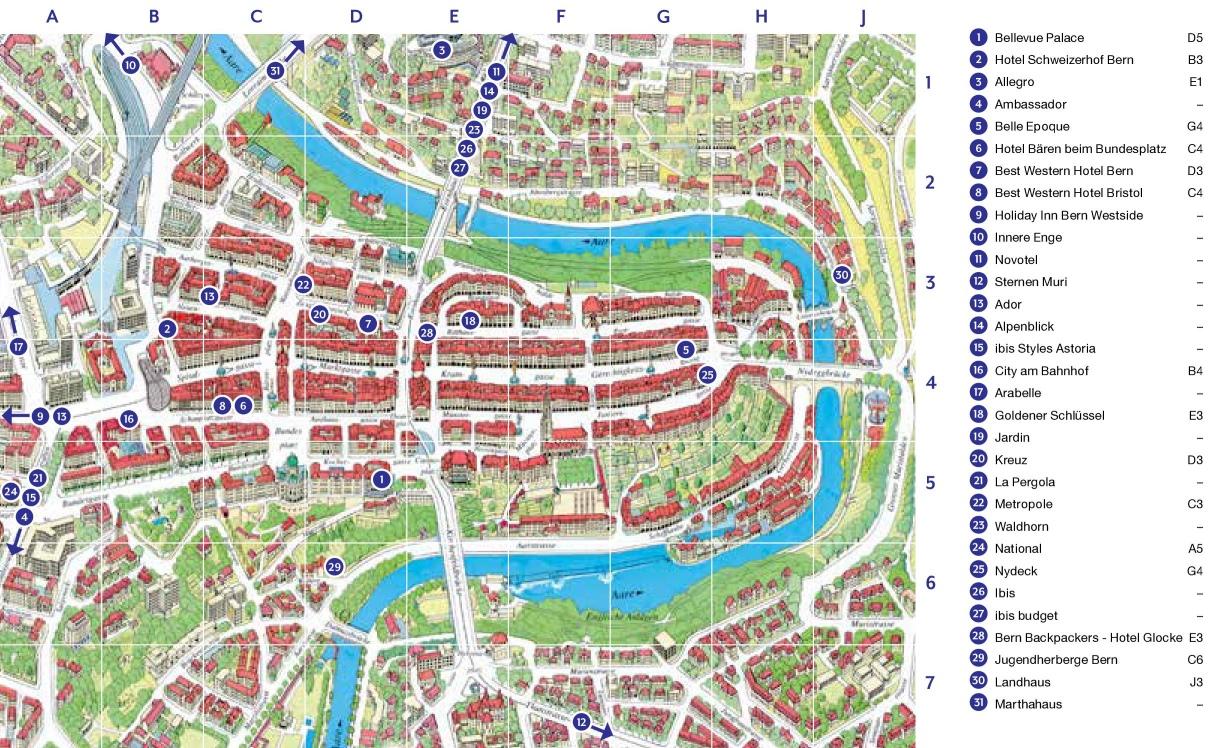 Bern hotel map