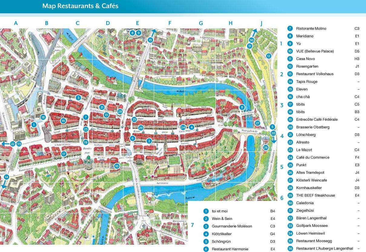Bern restaurants map