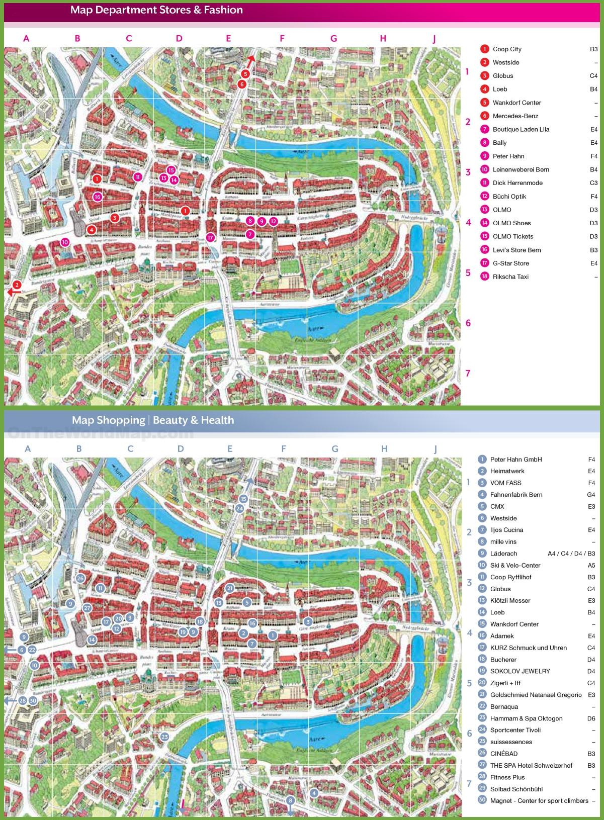 Bern shopping map