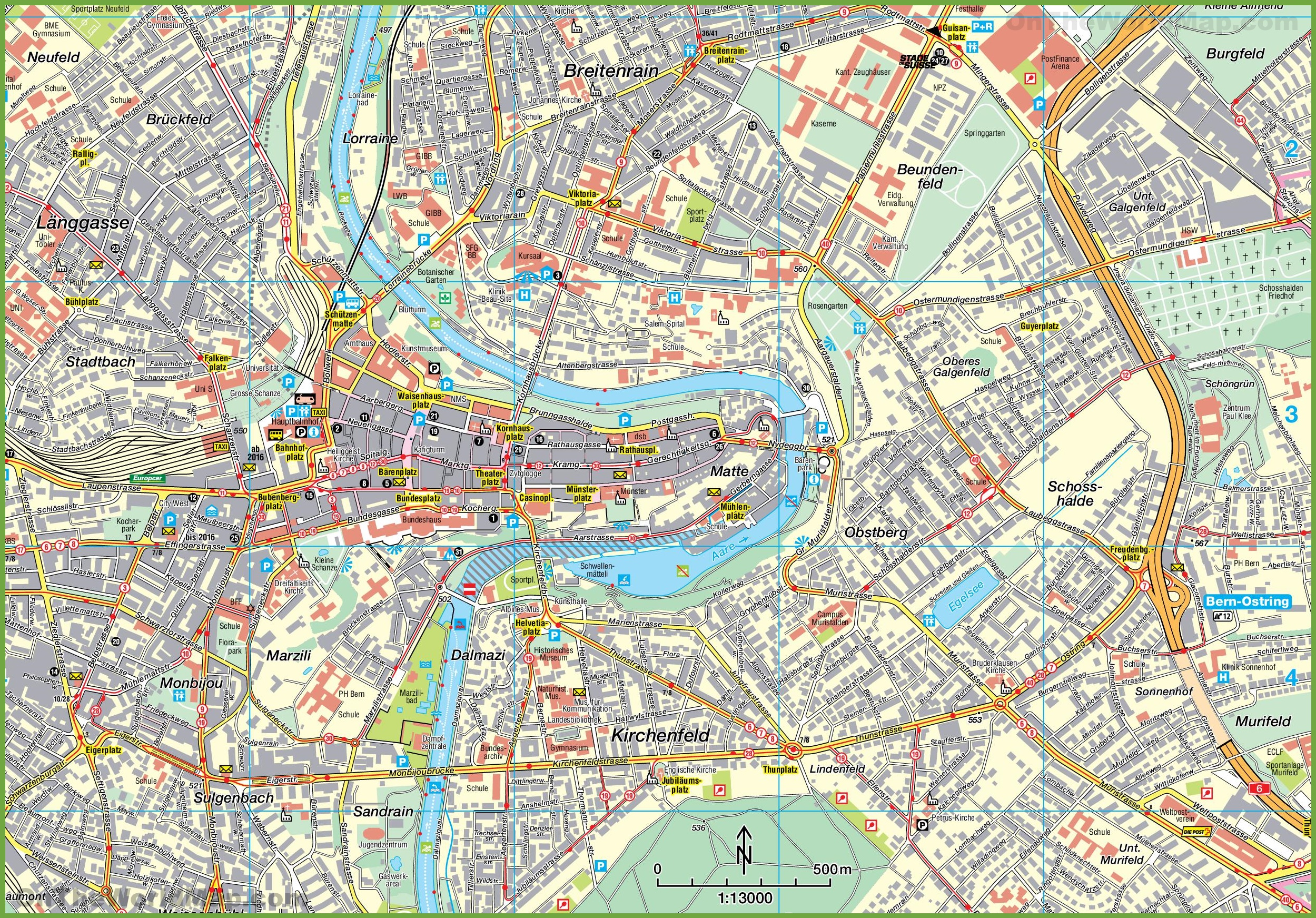 Bern tourist attractions map