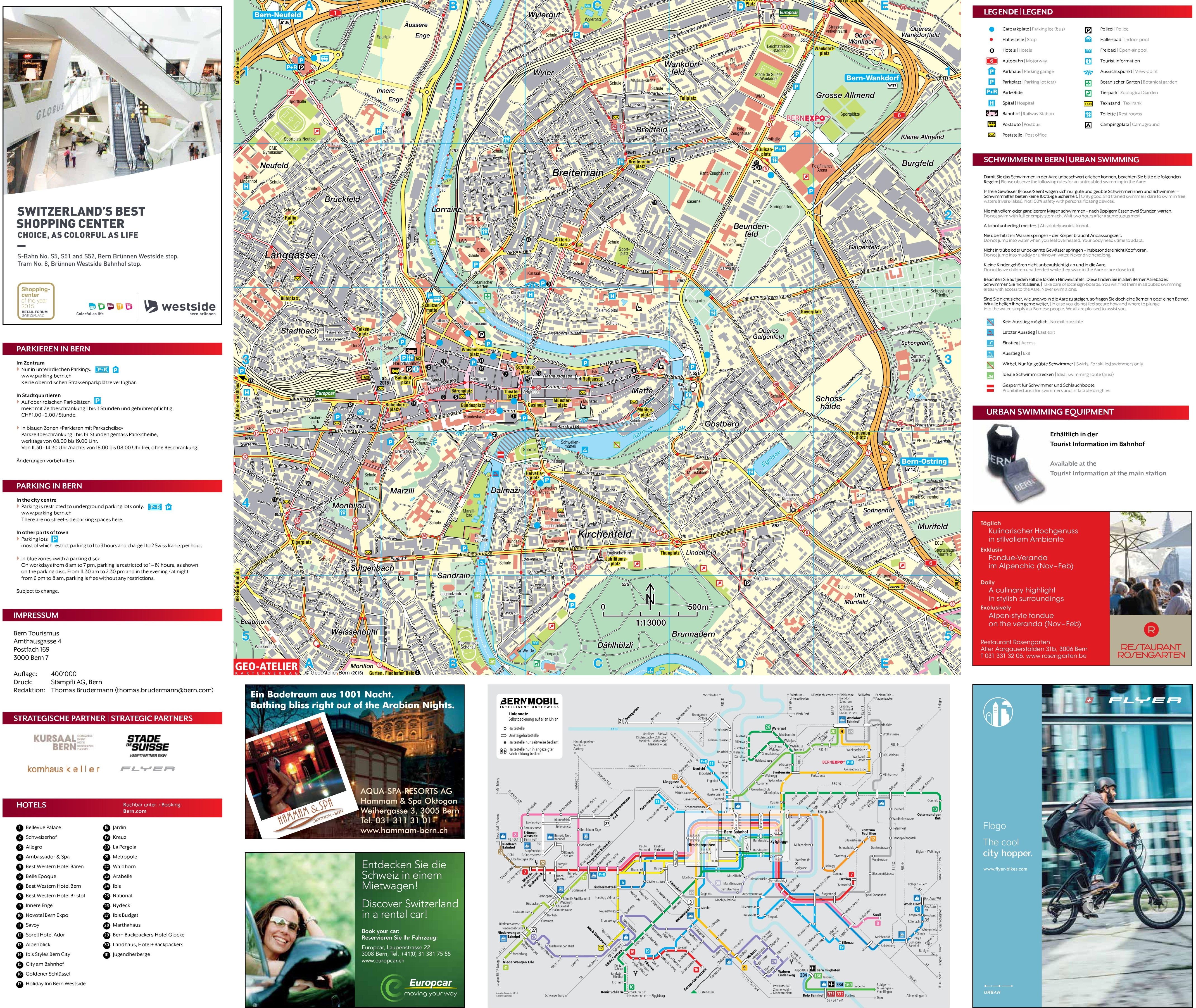 Large detailed tourist map of Bern