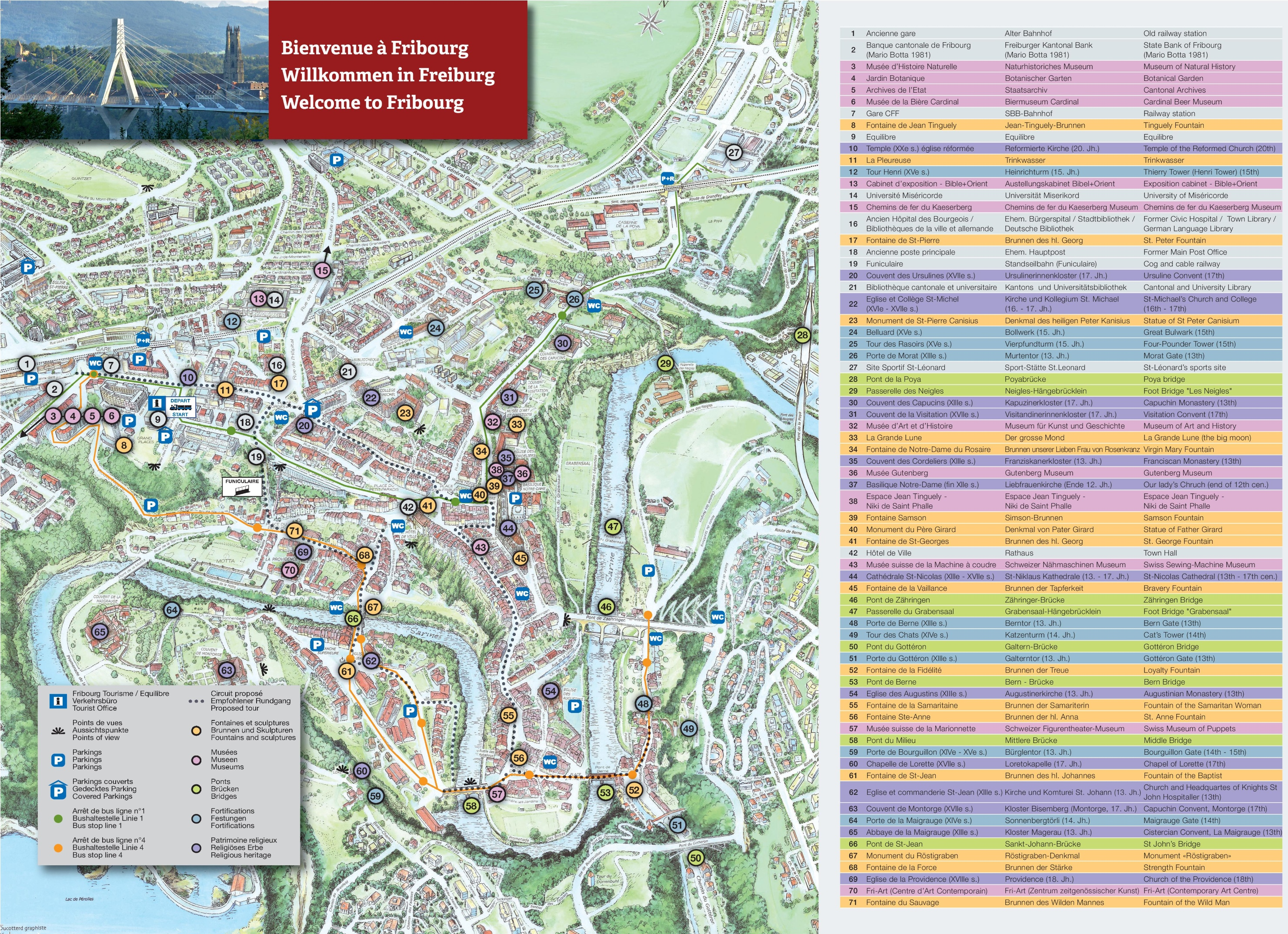 Fribourg tourist map – Tourist Map of Switzerland