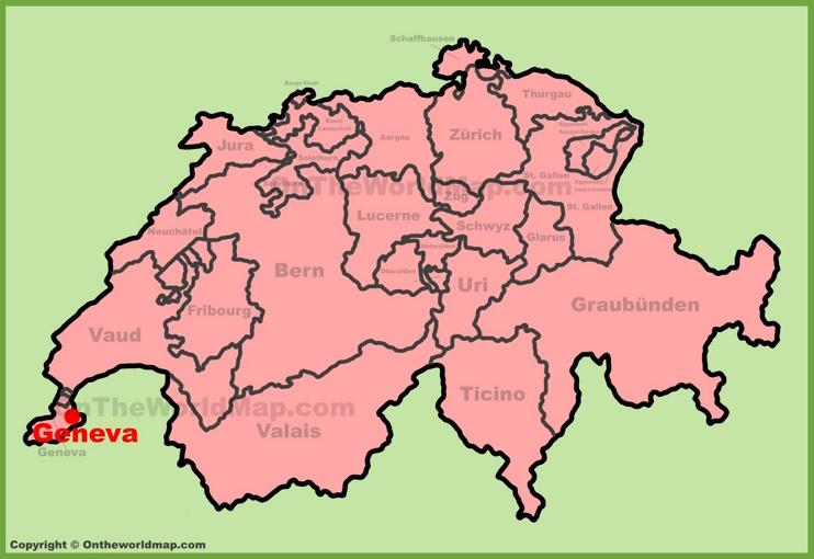 Geneva location on the Switzerland map