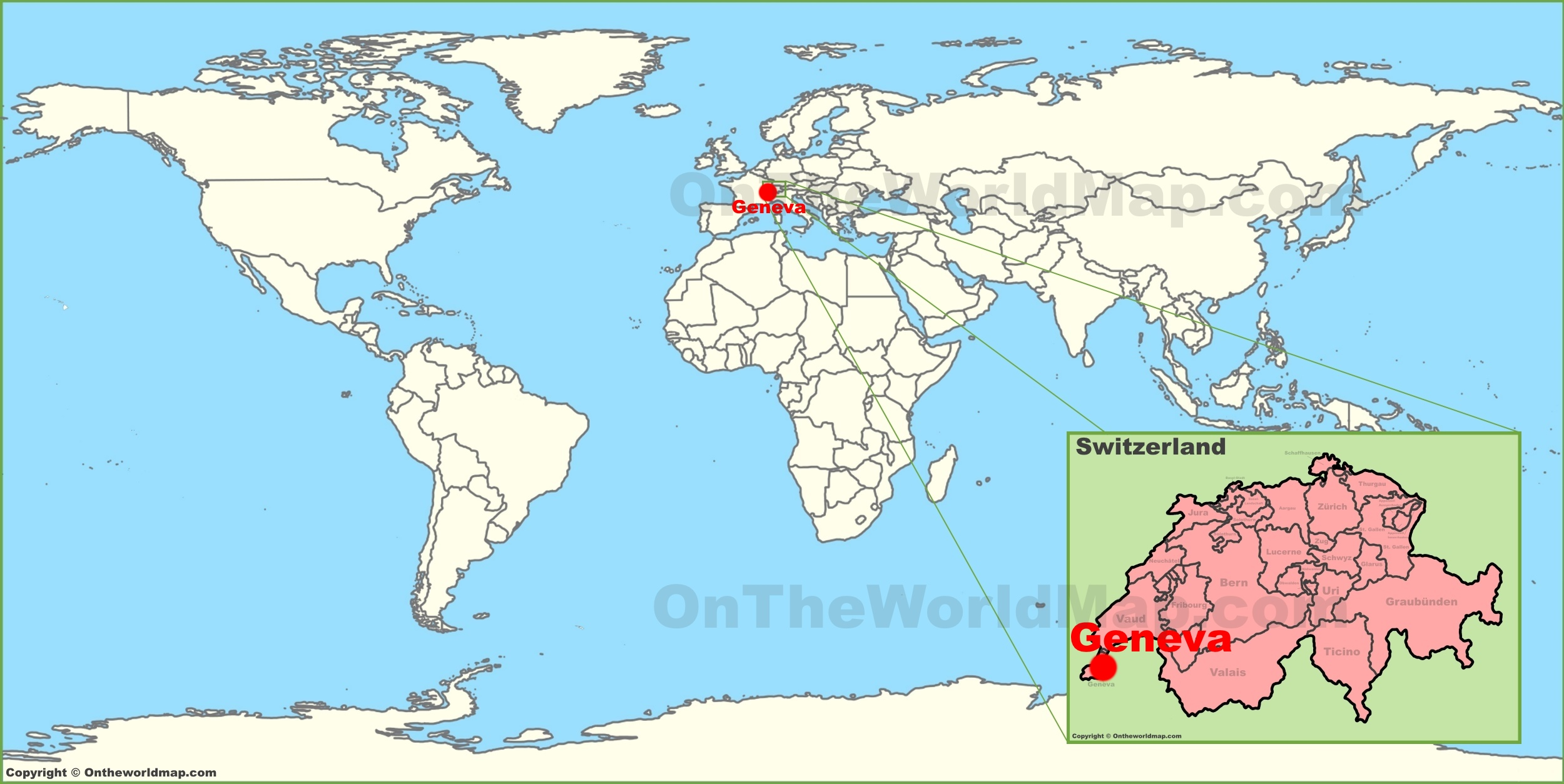 Where Is Switzerland On The Map Geneva on the World Map