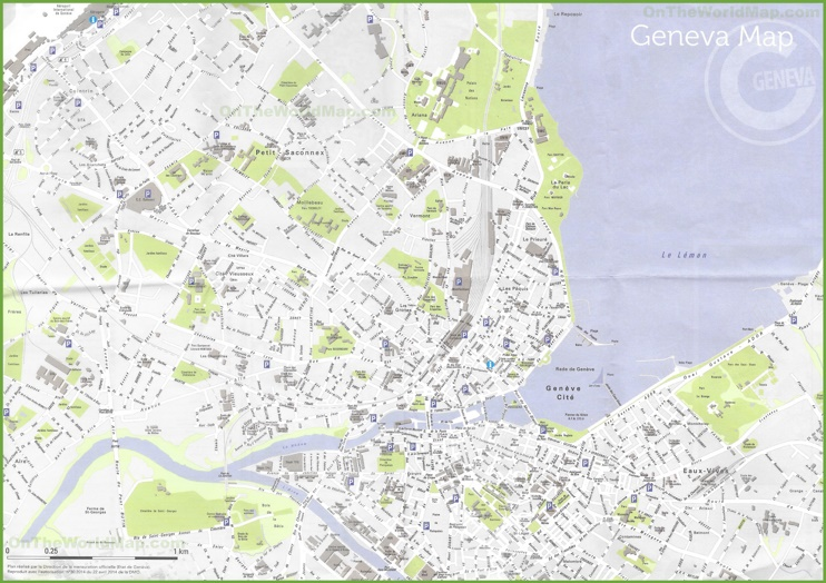 Large detailed map of Geneva