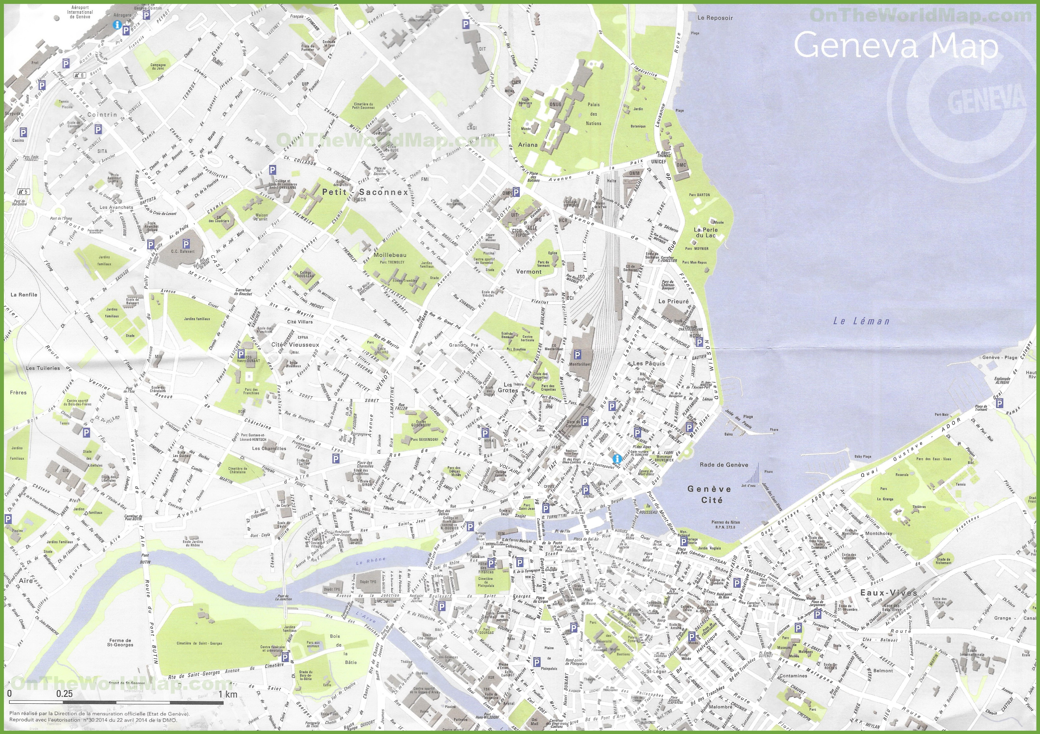 Large detailed map of Geneva
