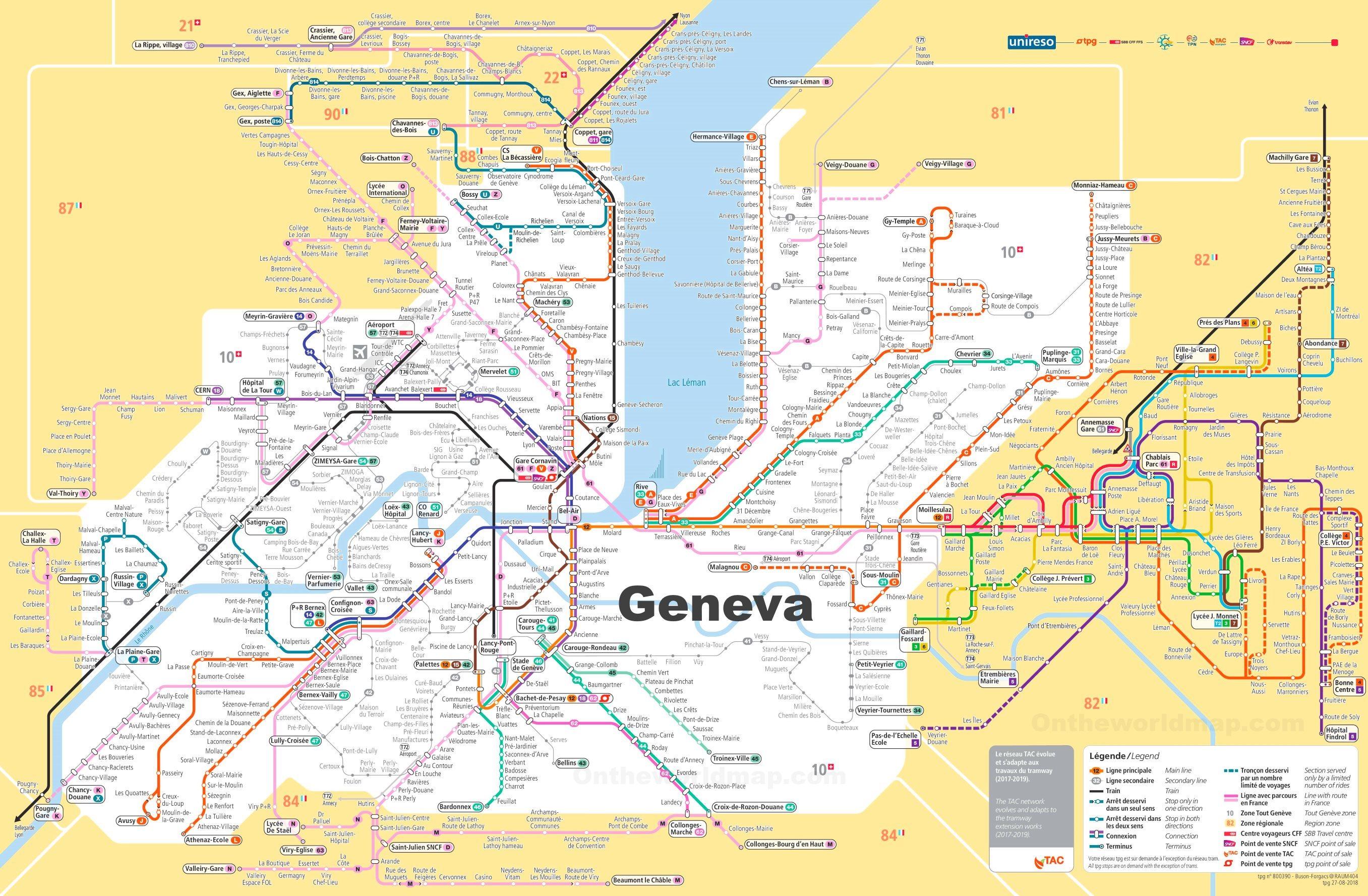 Transport Map of Surroundings of Geneva