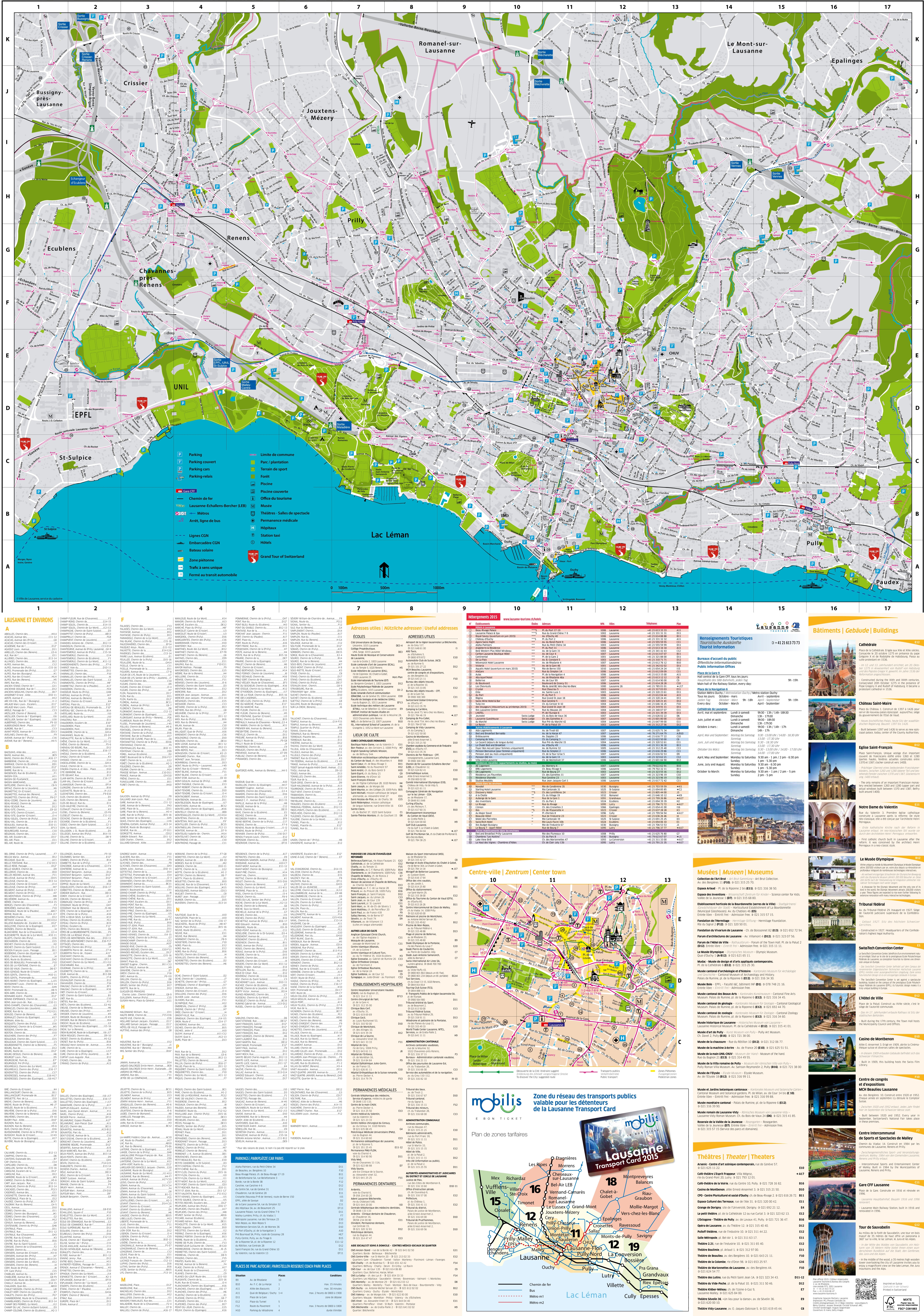 Large detailed tourist map of Lausanne