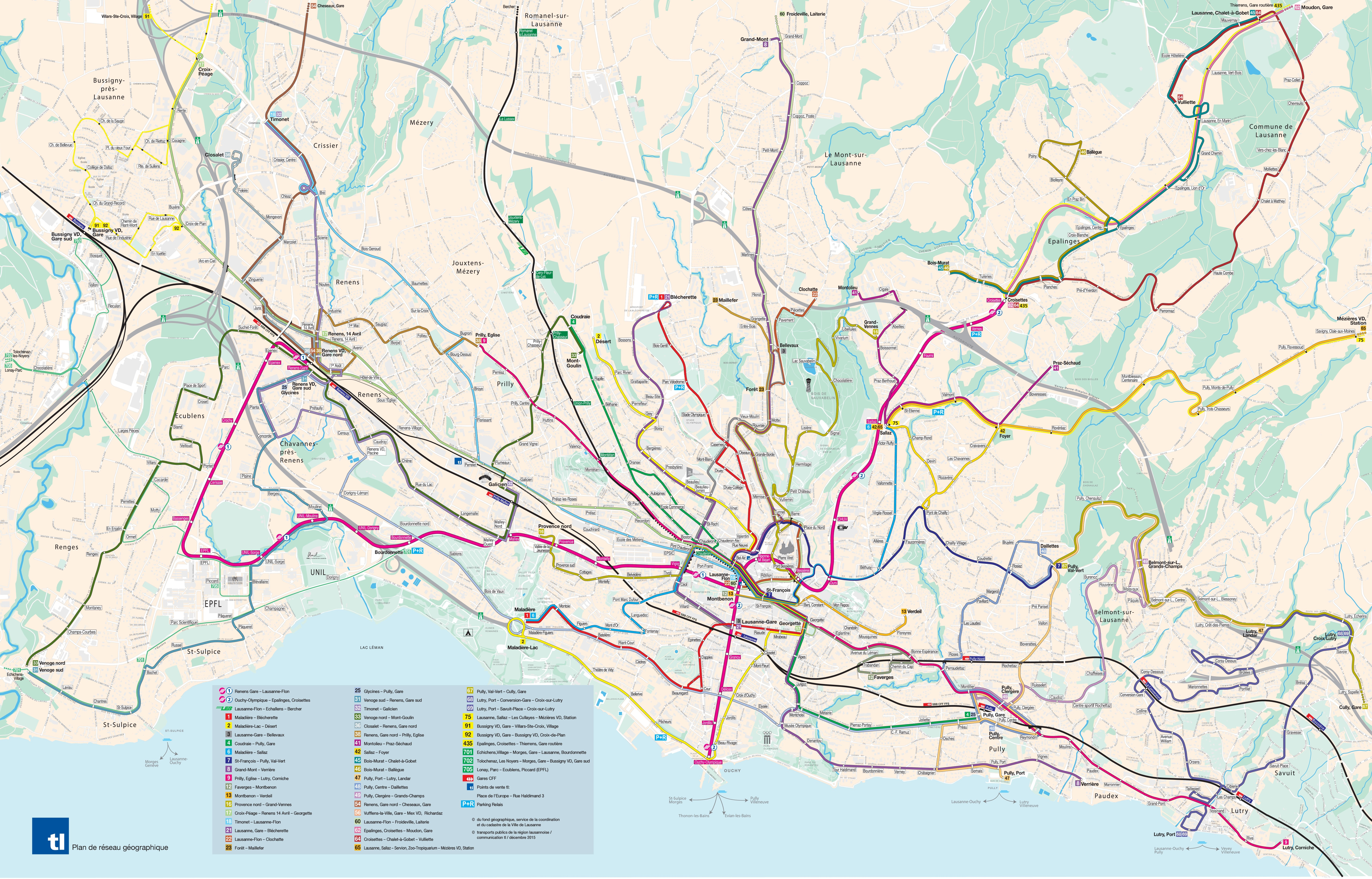 Large detailed transport map of Lausanne