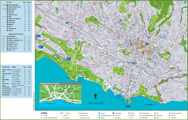 Lausanne Hotels And Sightseeings Map
