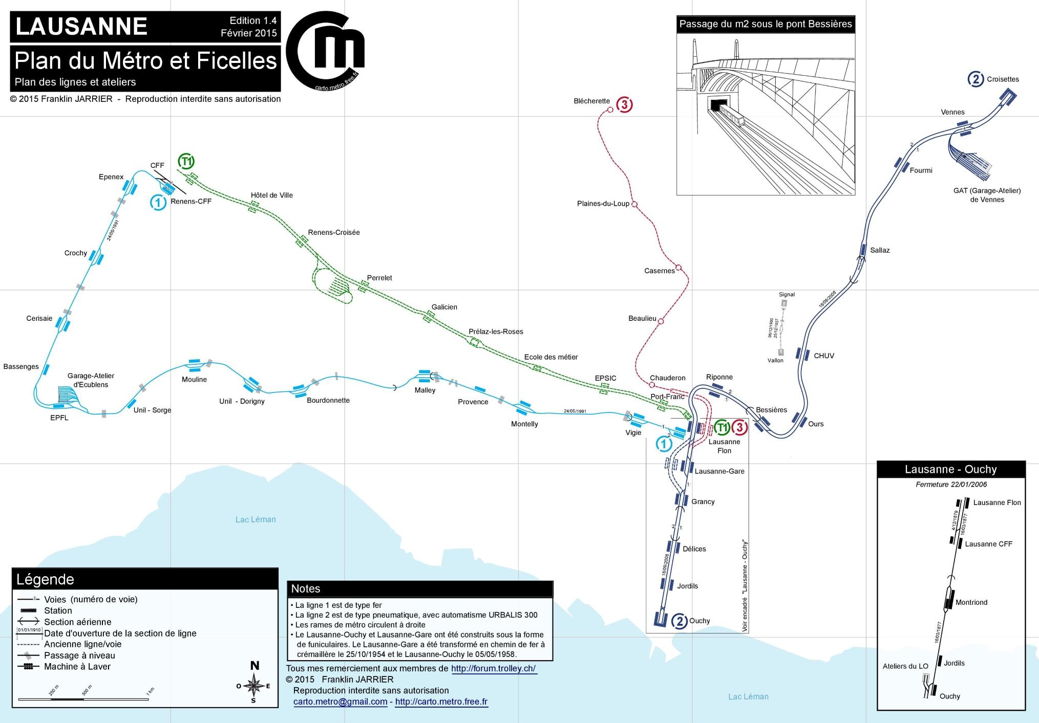 Lausanne Metro Map - Lausanne city map