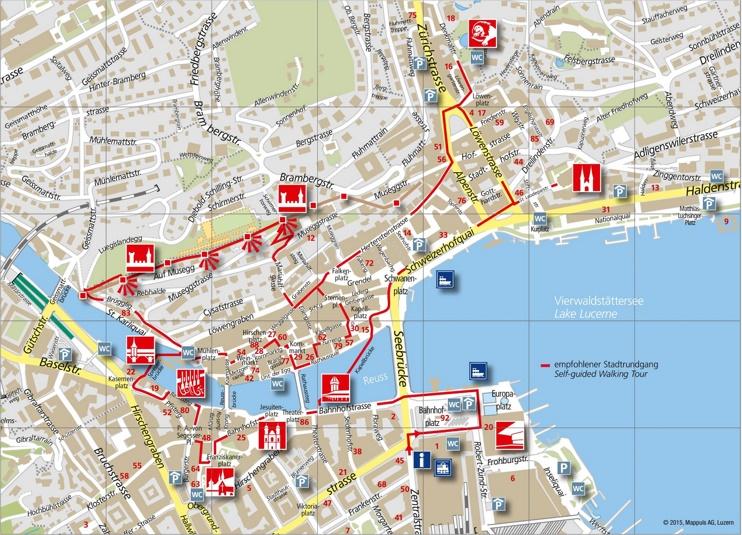 Lucerne city center map