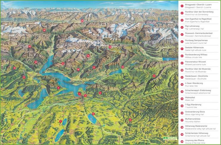 Lucerne hiking tips map