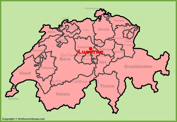 Lucerne location on the Switzerland map